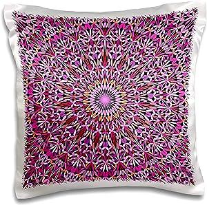 3dRose David Zydd - Floral Mandalas - Round Mandala Garden in Pink Tones - bohemian ornament - 16x16 inch Pillow Case (pc_301717_1)