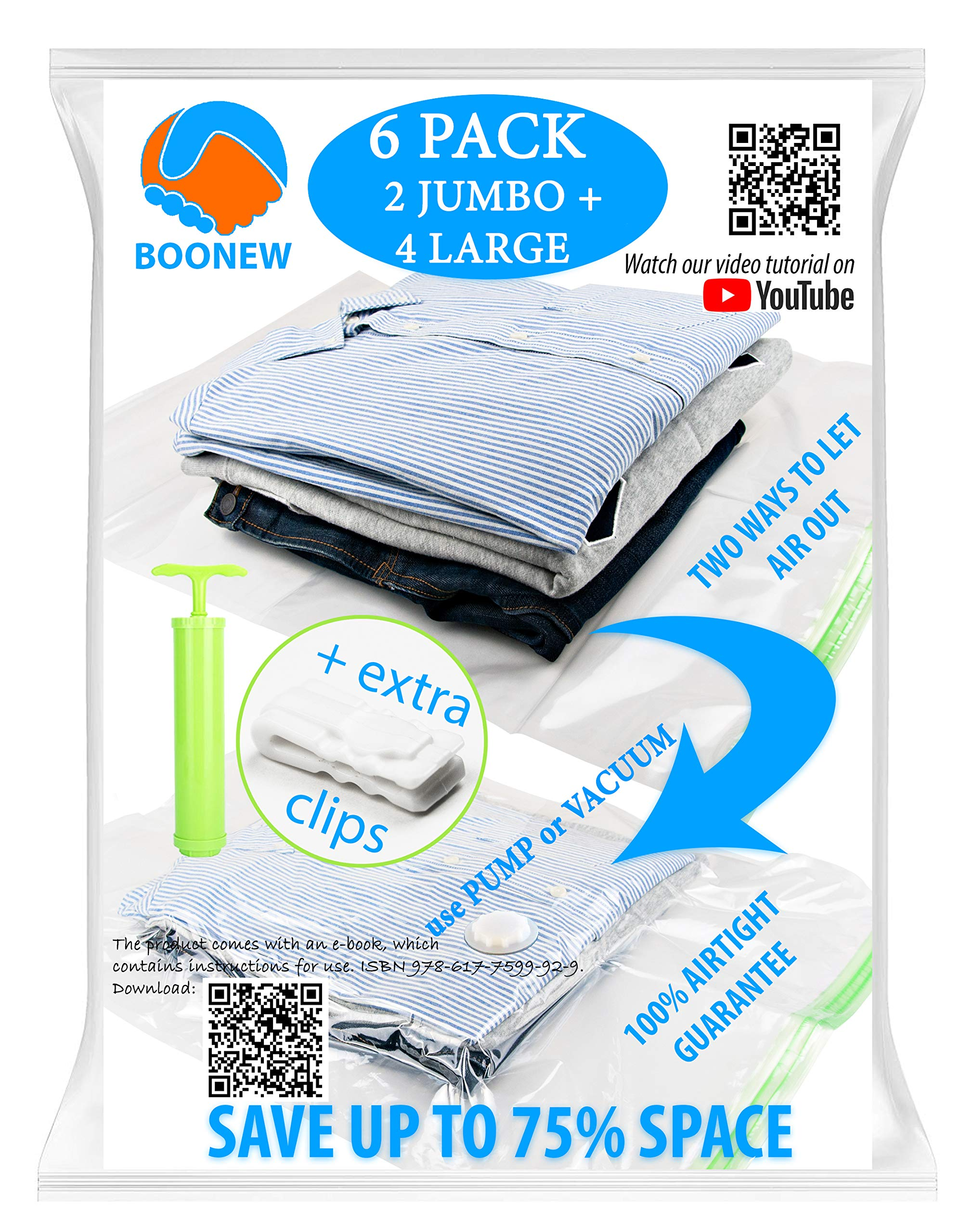 """Boonew Durable 2 Jumbo + 4 Large Vacuum Storage Bags for Clothes, Bedding, Pillows, Space Saver Compression Sacks Size 28x40"""" + 28x20"""" (Pack of 6)"""