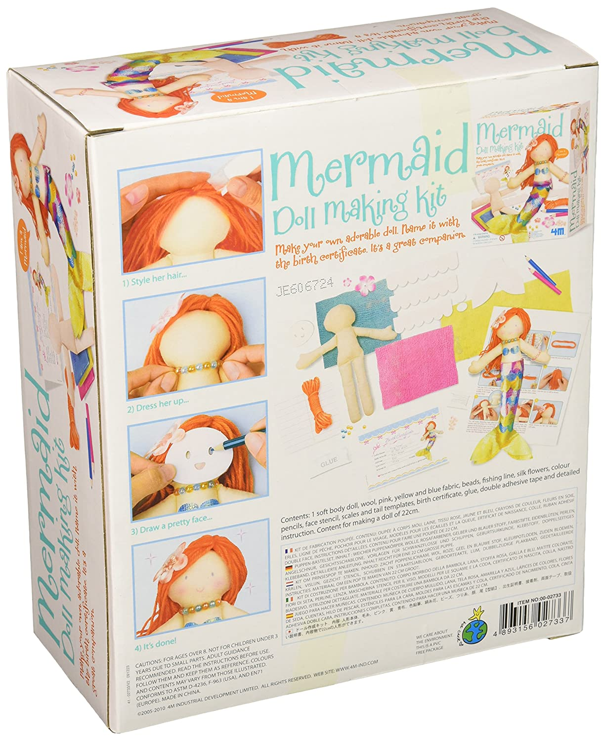 Amazon 4m mermaid doll making kit toys games aiddatafo Image collections
