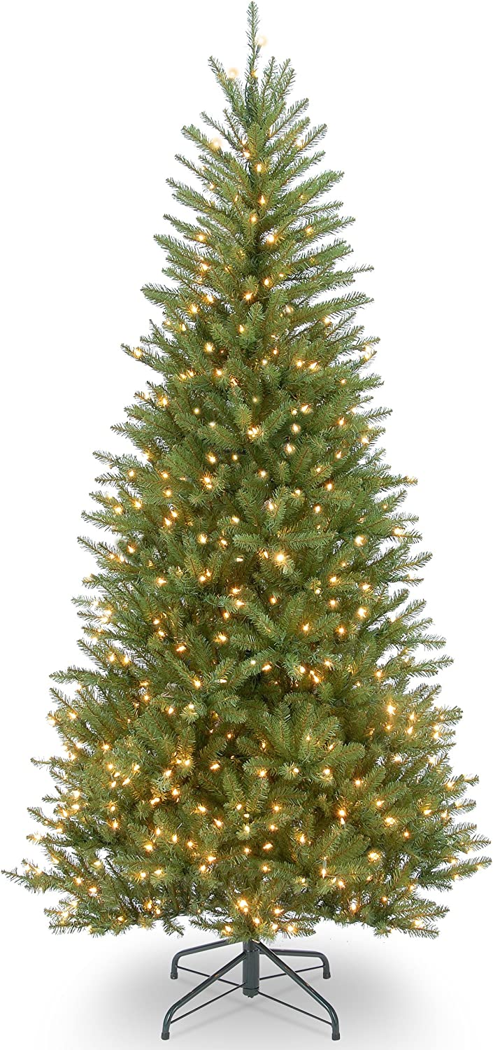 National Tree Company Pre-lit Artificial Christmas Tree   Includes Pre-strung White Lights and Stand   Dunhill Fir Slim - 7.5 ft