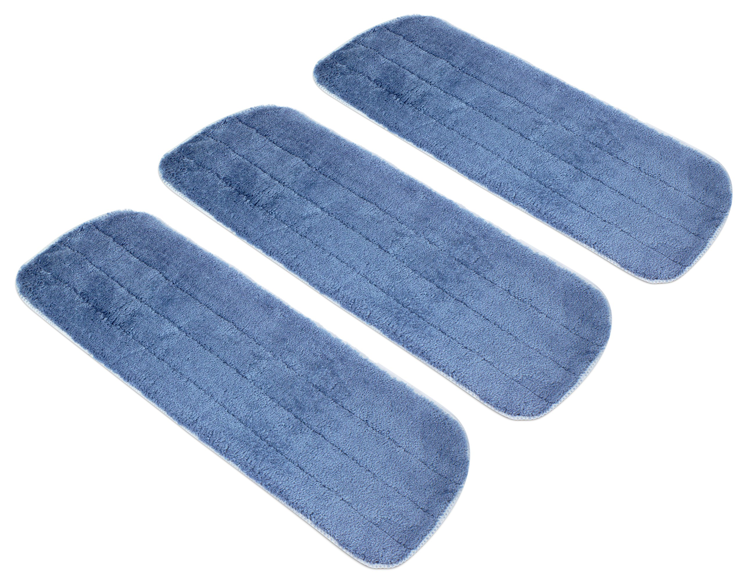 Microfiber Mop Replacement Heads 3 Pack - Premium Reusable Washable Wet/Dry Mop