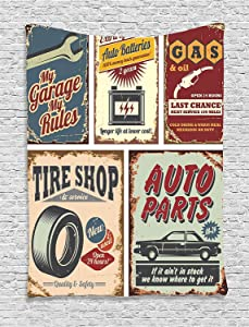 Ambesonne 1950s Decor Collection, Vintage Car Metal Signs Automobile Advertising Repair Vehicle Garage Classics Servicing Image, Bedroom Living Room Dorm Wall Hanging Tapestry, Burgundy