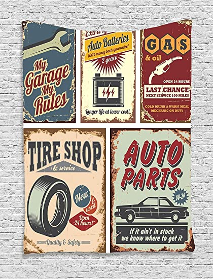 Ambesonne 1950s Decor Collection Vintage Car Metal Signs Automobile Advertising Repair Vehicle Garage Classics Servicing Image Bedroom Living Room
