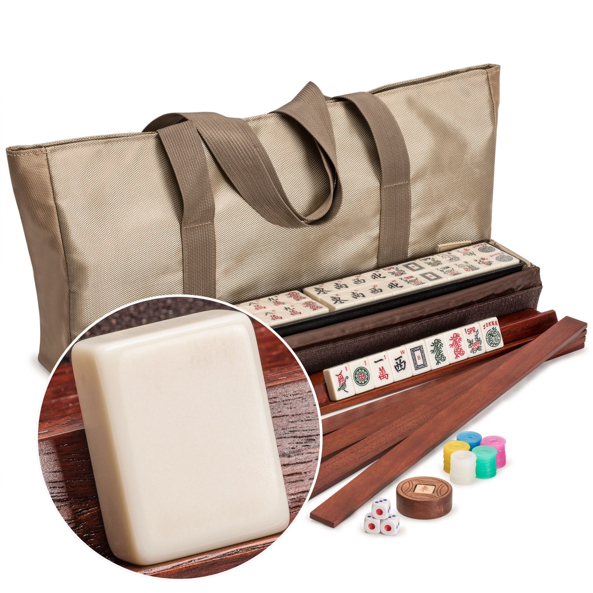 Yellow Mountain Imports American Mahjong (Mah Jong, Mahjongg, Mah-Jongg, Mah Jongg) Set with 166 Tiles, All-In-One Racks with Pushers, Accessories, and Soft Case, The Mojave