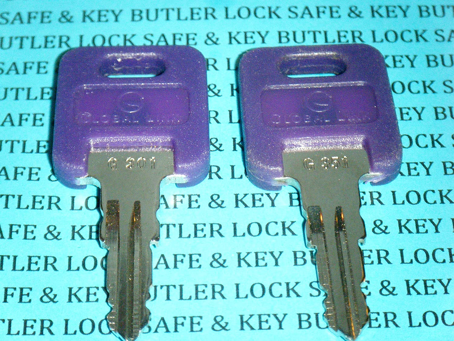 2 Global Link PURPLE Plastic Head RV Key Code Cut G301 G350