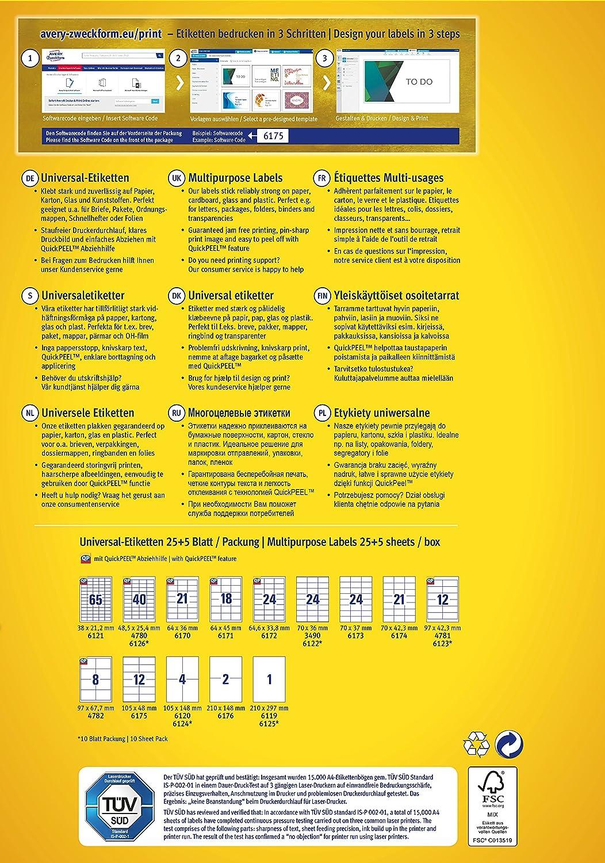 Avery Zweckform 6170 Etiketten (A4, 525 Plus 105 Universal-Etiketten ...