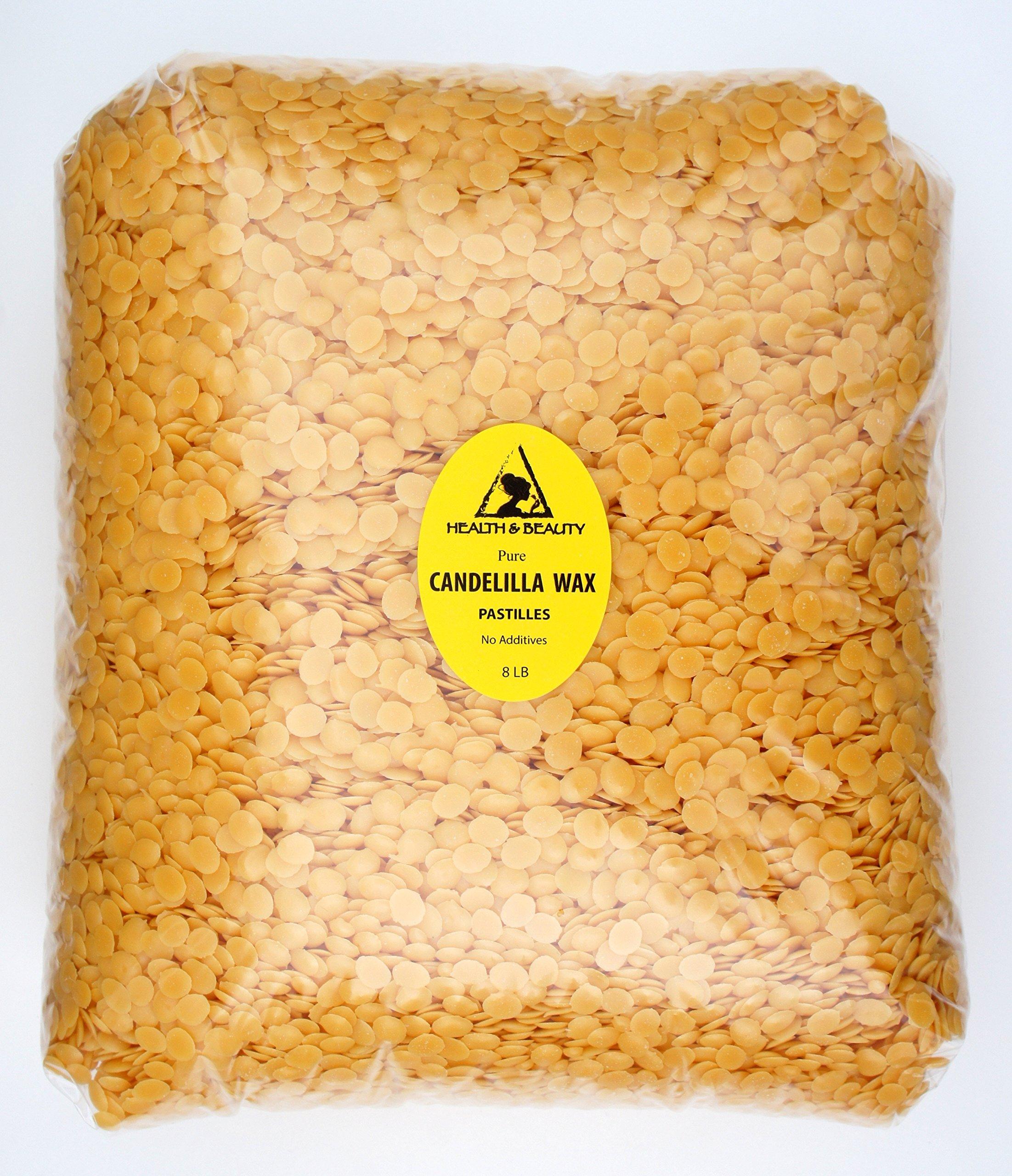 Candelilla Wax Flakes Organic Vegan Pastilles Beards Premium Prime Grade A 100% Pure 8 LB by H&B Oils Center Co.