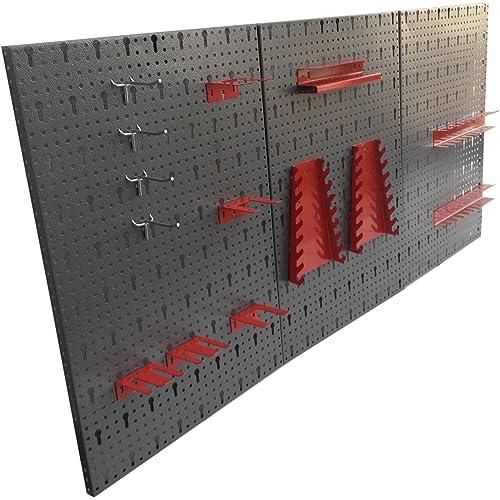 Panneau perforé 3 pans en métal avec assortiment de 14 crochets 120 x 60 cm