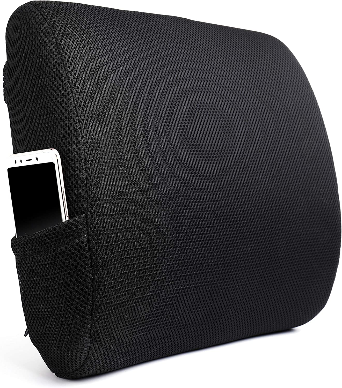 Tebery Memory Foam Back Cushion Designed for Lower Back Pain Relief Lumbar Support Pillow with Adjustable Straps for Car or Office/Computer Chair