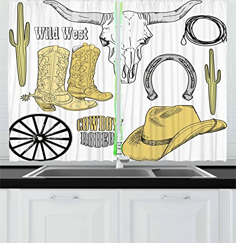 Ambesonne Western Kitchen Curtains Cowboy Rodeo Accessories Skull Lasso Hat Vintage Wheel Horseshoe Window Drapes 2 Panel Set For Kitchen Cafe Decor 55 X 39 Pale Brown Black Pale Grey Home
