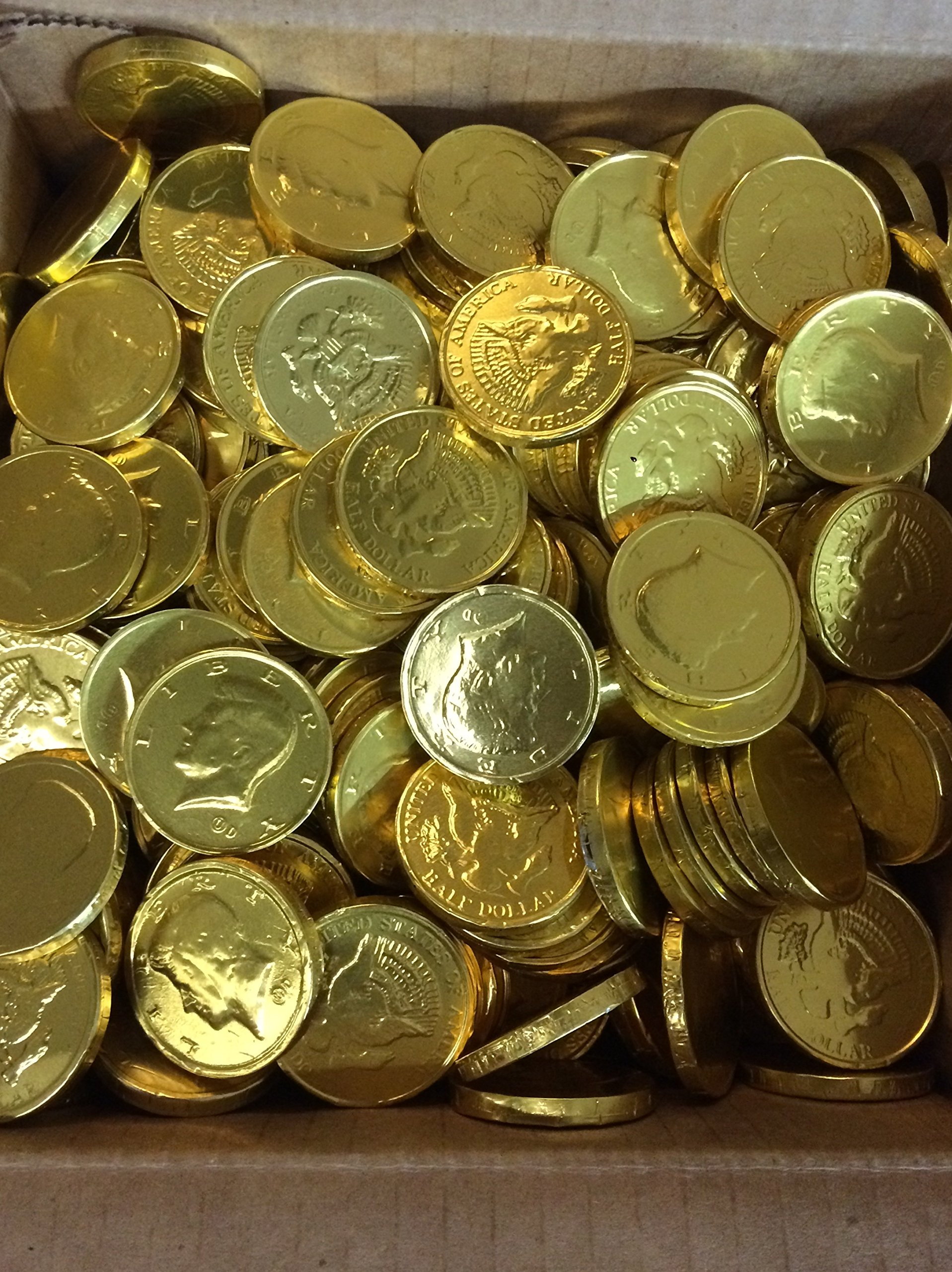Solid Milk Chocolate Large Kennedy Gold Foil Coins - 10 Pound Box - Wholesale Bulk