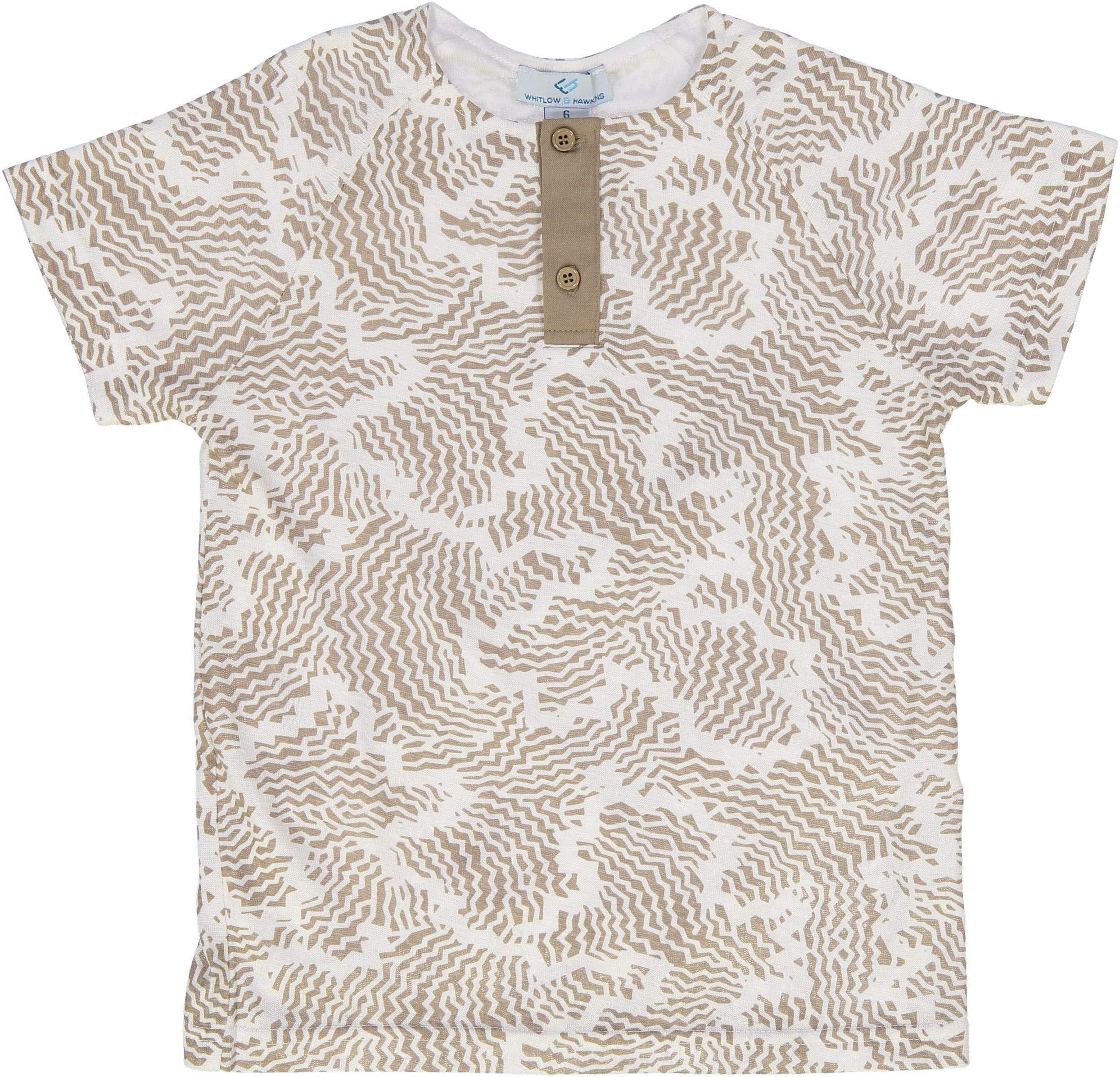 Whitlow & Hawkins Boys Short Sleeve Dress Shirt with No Collar - 6182 - Camel, 8