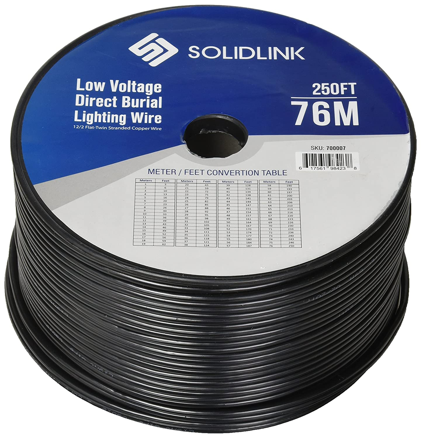 SolidLink 250ft Low Voltage 12 2 Direct Burial Bare COPPER Lighting Wire Parallel Flat Twin Cable For Landscape Lights