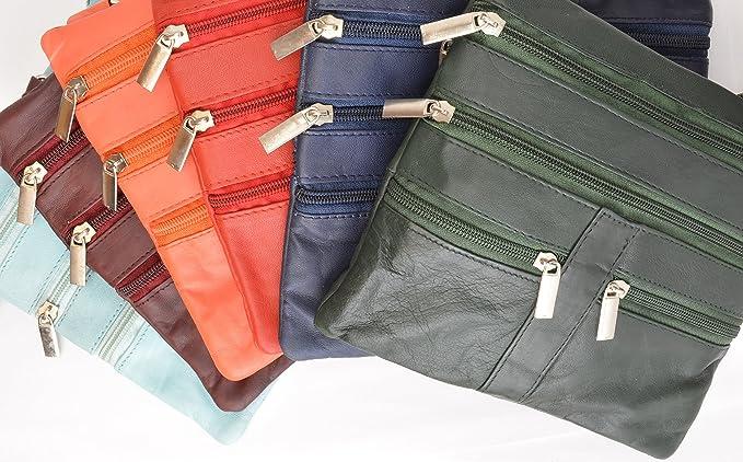 HN907 - Bolso bandolera de piel suave con 5 bolsillos, organizador de bolso de mano, cartera de viaje - Anaranjado - talla única: Amazon.es: Ropa y ...