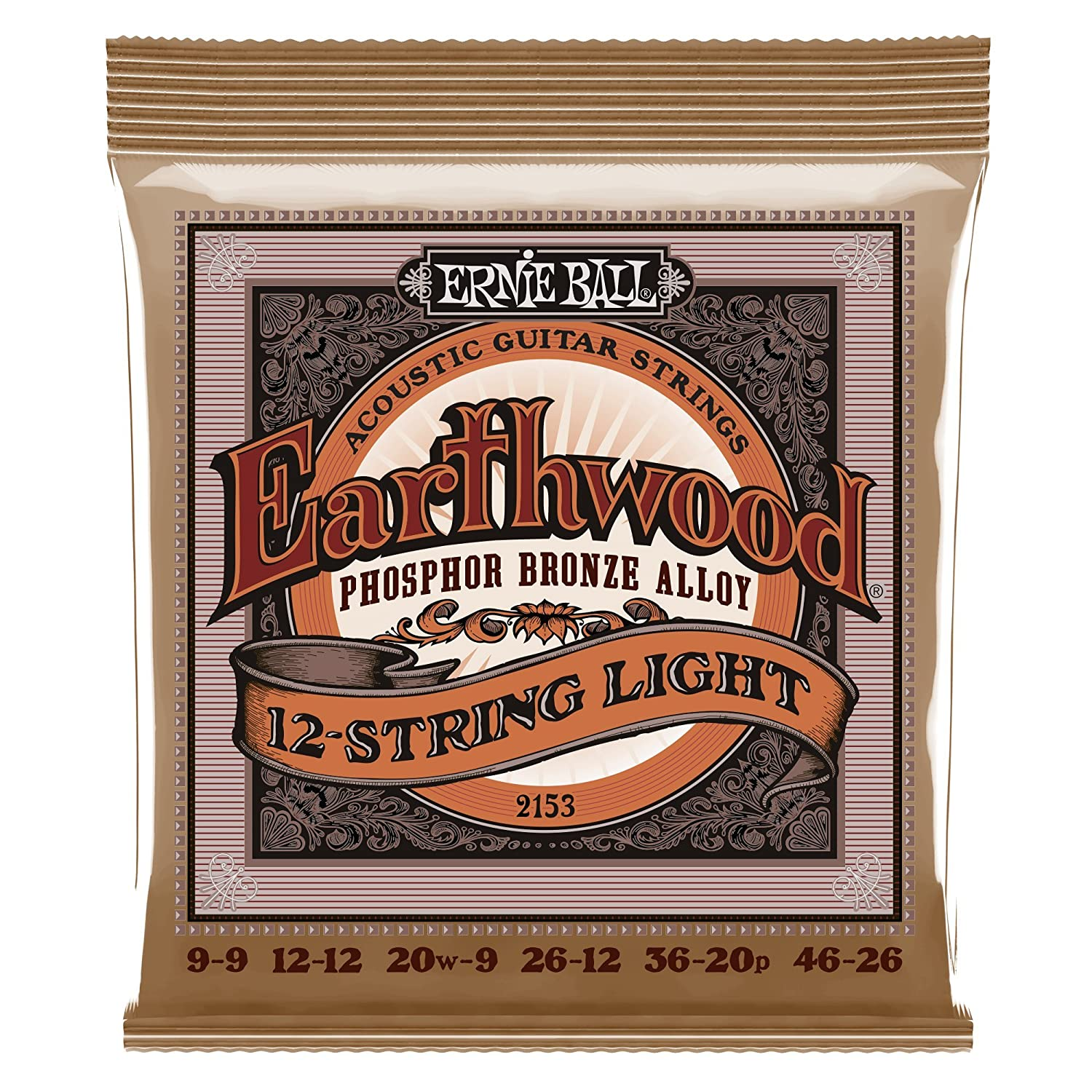 Ernie Ball Earthwood Extra Light Phosphor Bronze Acoustic String Set, .010 - .050 P02150