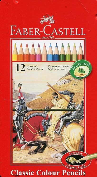 Faber-Castell Classic - Set de 12 lápices de colores (en estuche metálico): Amazon.es: Oficina y papelería