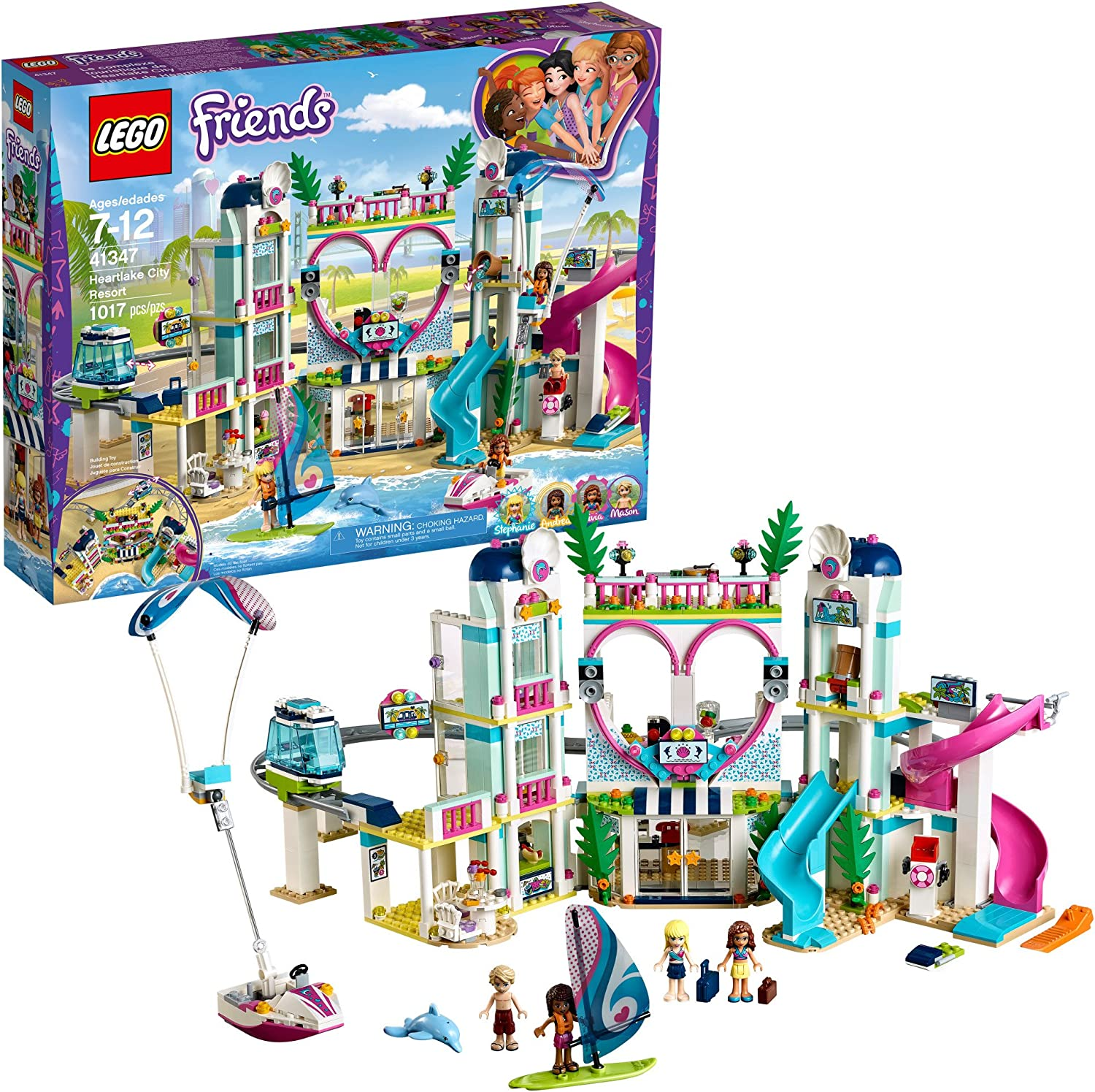 Amazon Com Lego Friends Heartlake City Resort 41347 Top Hotel Building Blocks Kit For Kids Aged 7 12 Popular And Fun Toy Set For Girls 1017 Pieces Discontinued By Manufacturer Toys Games