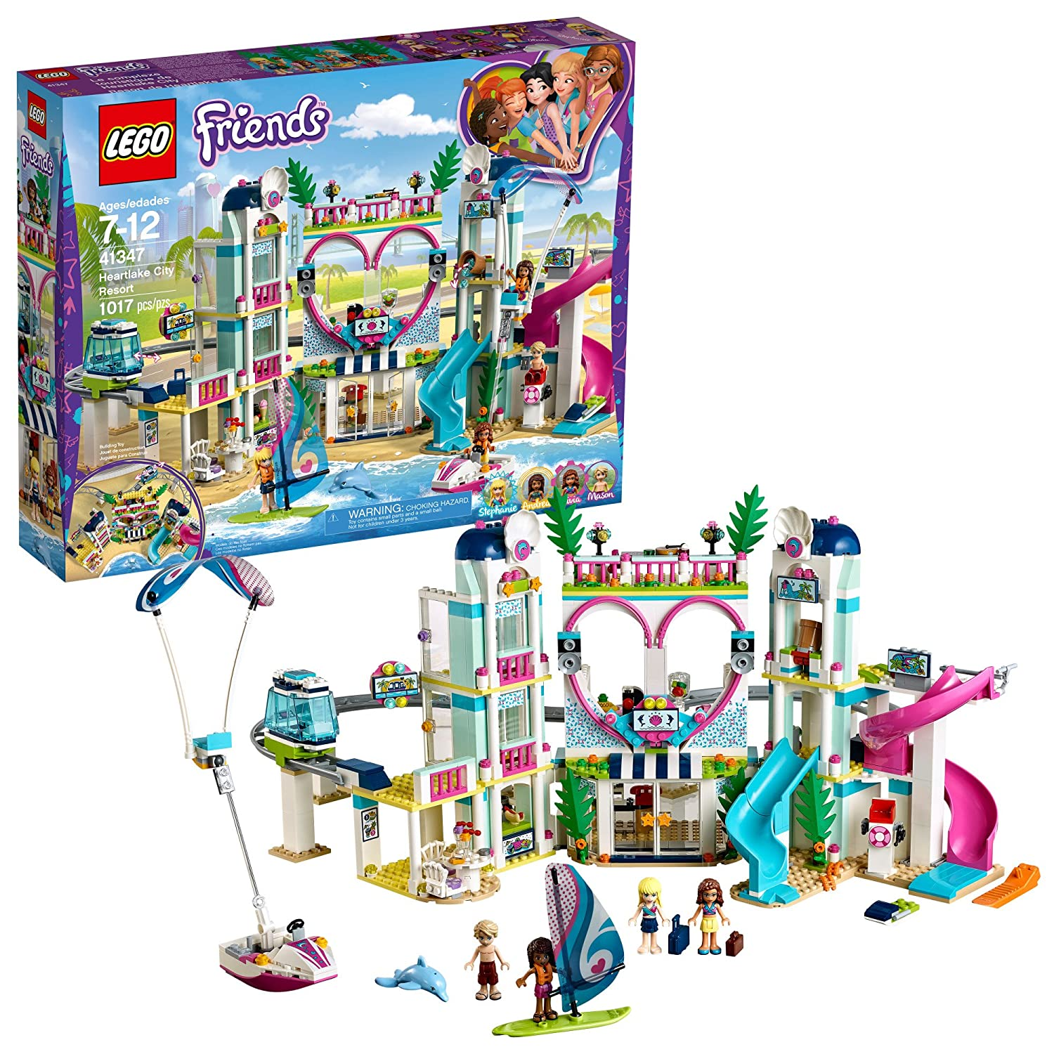 LEGO Friends Heartlake City Resort 41347 Top Hotel Building Blocks Kit for Kids Aged 7-12, Popular and Fun Toy Set for Girls (1017 Piece)
