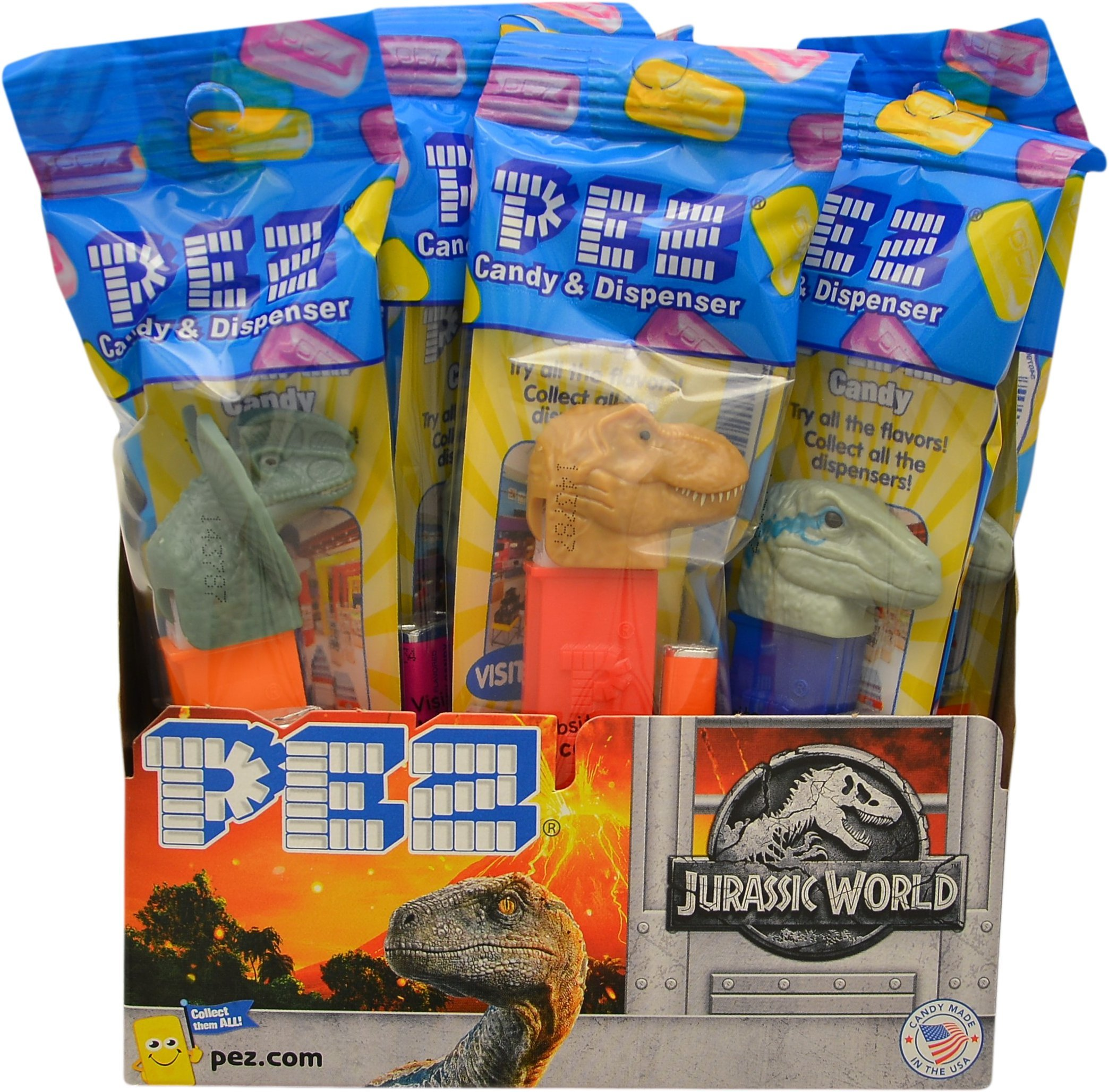 Pez Candy Jurassic World Fallen Kingdom Candy Dispensers - Individually Wrapped - Great for Party Favors and Pez Collector's (12 Pack)