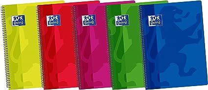 Oxford Classic 400042147 - Pack de 5 cuadernos espiral con tapa de plástico, Fº: Amazon.es: Oficina y papelería