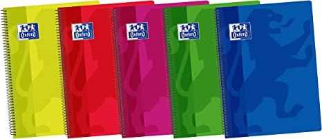 Oxford Classic - Pack de 5 cuadernos espiral con tapa de plástico, Fº: Amazon.es: Oficina y papelería