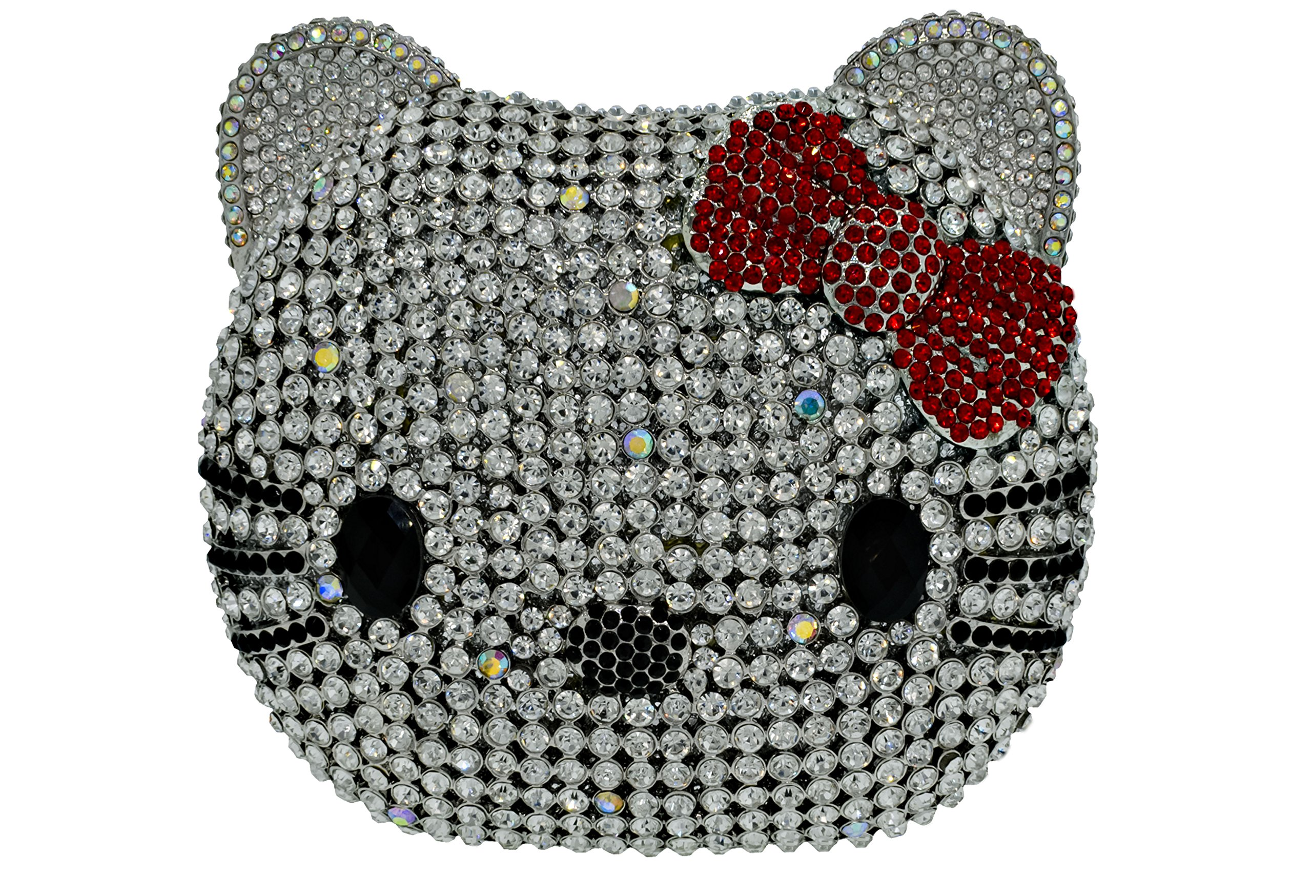 3-D Kitty Cat Crystal Clutch Holiday Party Evening Bag & Compact Mirror Gift Set Silver