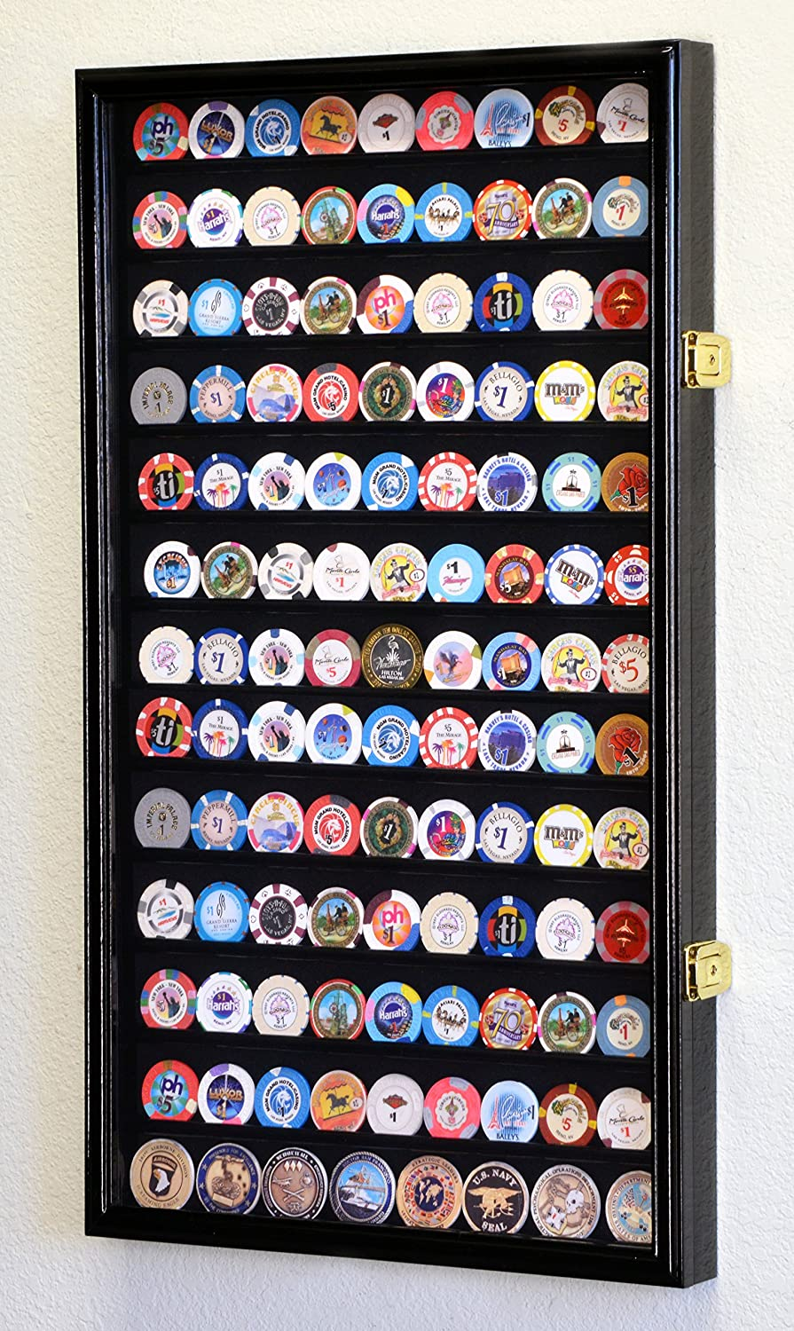 Large Casino Coin Chips Display Case Cabinet Holder 98% UV Locks Holds 117 Coins