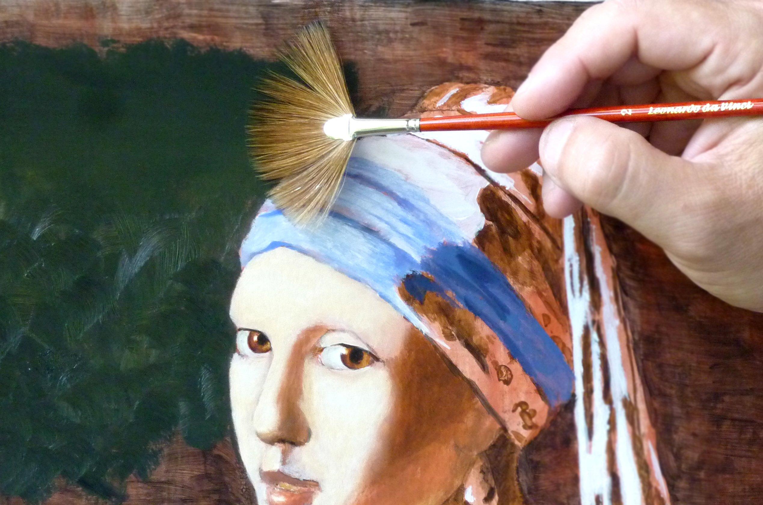 da Vinci Varnish & Priming Series 406 Fan Blender Brush, Ox Hair Sabeline with Red Polished Handle, Size 3 (406-3) by da Vinci Brushes (Image #2)