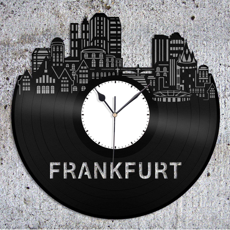 VinylShopUS - Frankfurt Vinyl Wall Clock City Skyline Gift Home Room   Unique Gift for Man Woman  Home Decoration by VinylShopUS (Image #2)