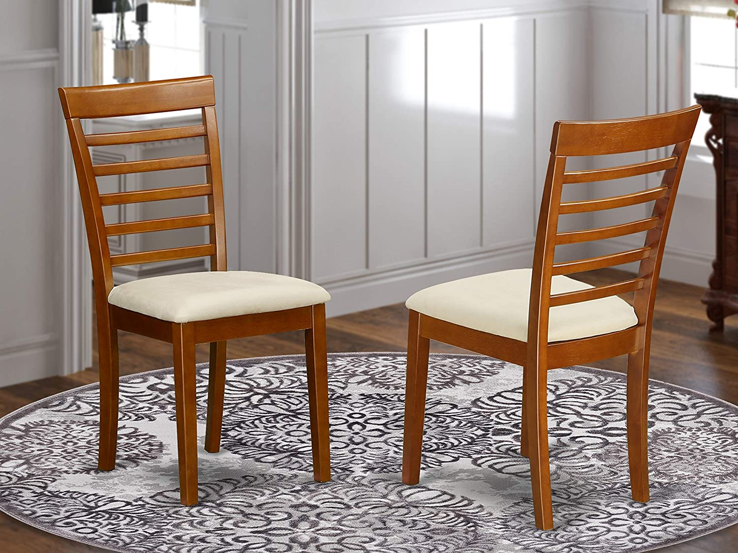 East West Furniture MLC-SBR-C Dining Chair Set with Cushion Seat, Saddle Brown Finish, Set of 2