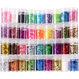 Chunky and Fine Glitter Mix, Estanoite 36 Colors Chunky Sequins & Fine Glitter Powder Mix, Iridescent Glitter Flakes, Cosmeti