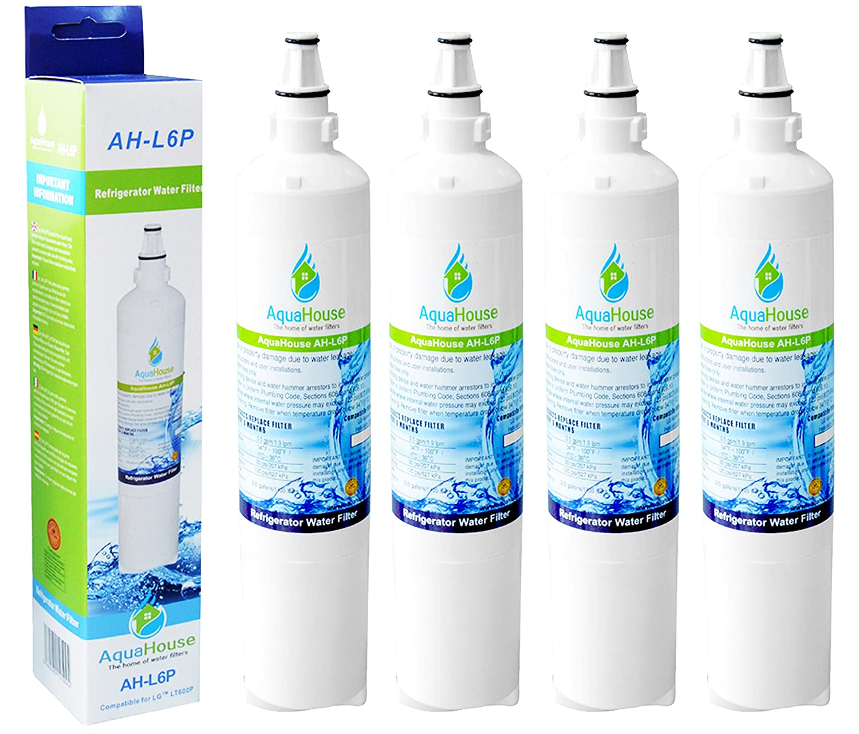 4x AquaHouse AH-L6P compatible pour filtre à eau LG LT600P, 5231JA2006A, 5231JA2006B, 5231JA2006F filtre à eau de réfrigérateur