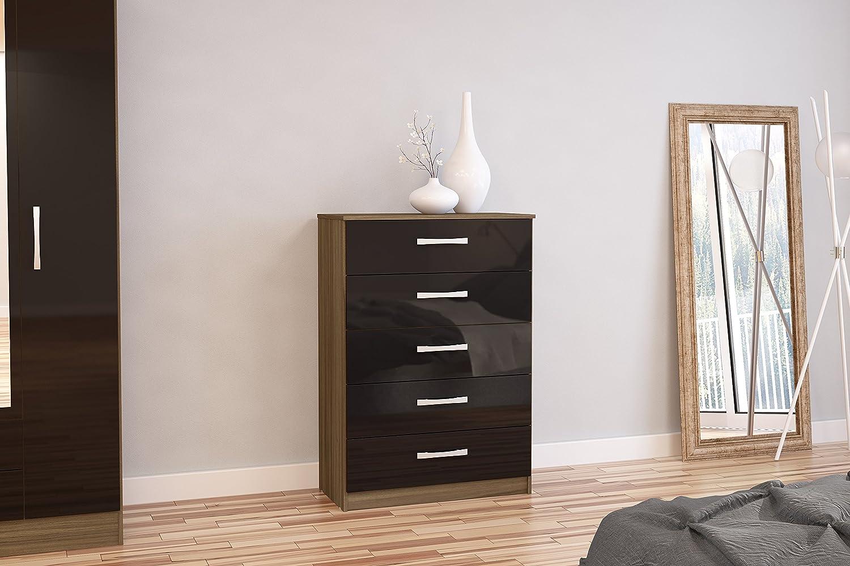 Birlea Lynx Drawer Chest HighGloss Walnut And Black Amazon - Black gloss chest of drawers