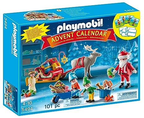 Calendario Avvento Playmobil.Playmobil 5494 Calendario Dell Avvento Atelier Di Babbo Natale Con Gli Elfi Multicolore