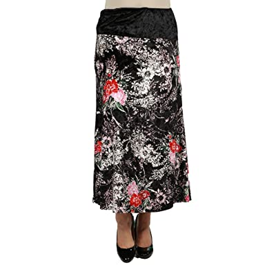 24Seven Comfort Apparel Floral Velvet Plus Size Black Maxi Skirt