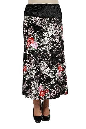 8a0961310c 24Seven Comfort Apparel Floral Velvet Plus Size Black Maxi Skirt 1XL Print