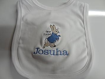 Personalised peter rabbit baby bib keepsake beautifully personalised peter rabbit baby bib keepsake beautifully embroidered bo or girl colours negle Choice Image