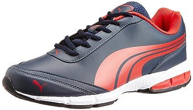 6d784380cda7 Puma Men s Roadstar XT DP Dark Denim-High Risk Red Running Shoes - 10UK