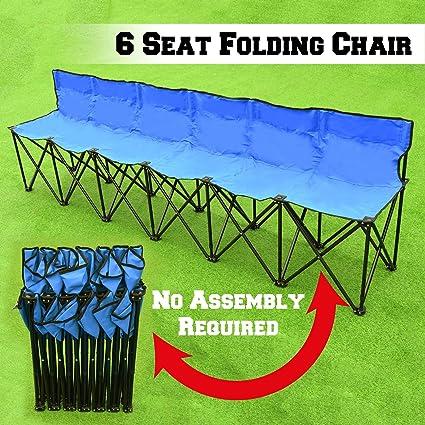 Fantastic Benefitusa Folding Portable Team Sports Sideline Bench 6 Seater Outdoor Waterproof Blue Dailytribune Chair Design For Home Dailytribuneorg