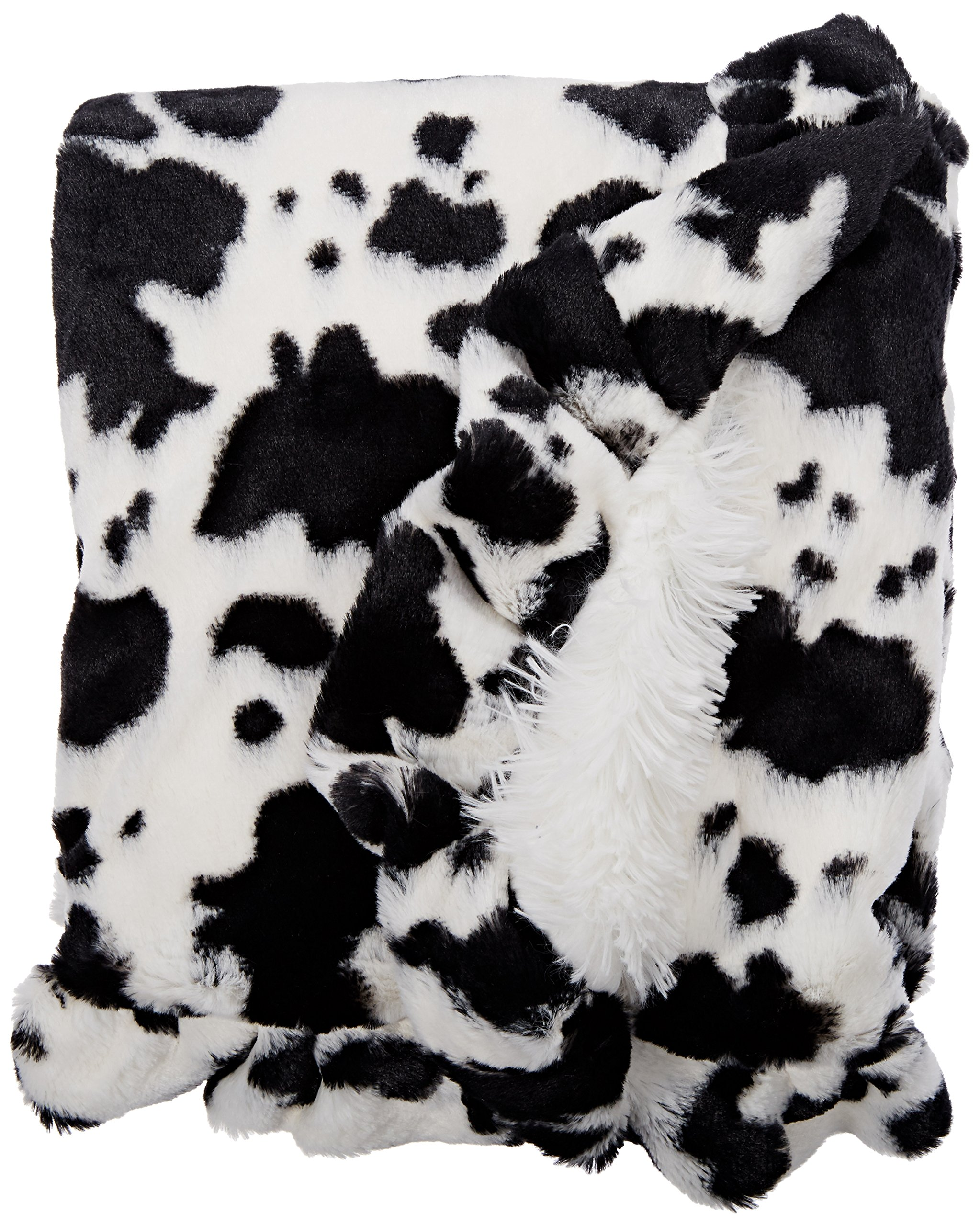 BESSIE AND BARNIE Spotted Pony/Snow White Luxury Shag Ultra Plush Faux Fur Pet, Dog, Cat, Puppy Super Soft Reversible Blanket (Multiple Sizes)