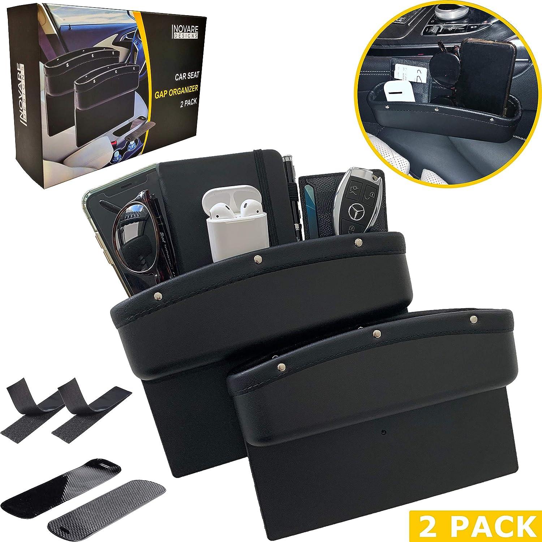 Black 2 Pack Leather Car Seat Organizer Gap Pocket Car Seat Storage Box for Holding Phone JYSW Car Gap Filler Sunglasses Keys