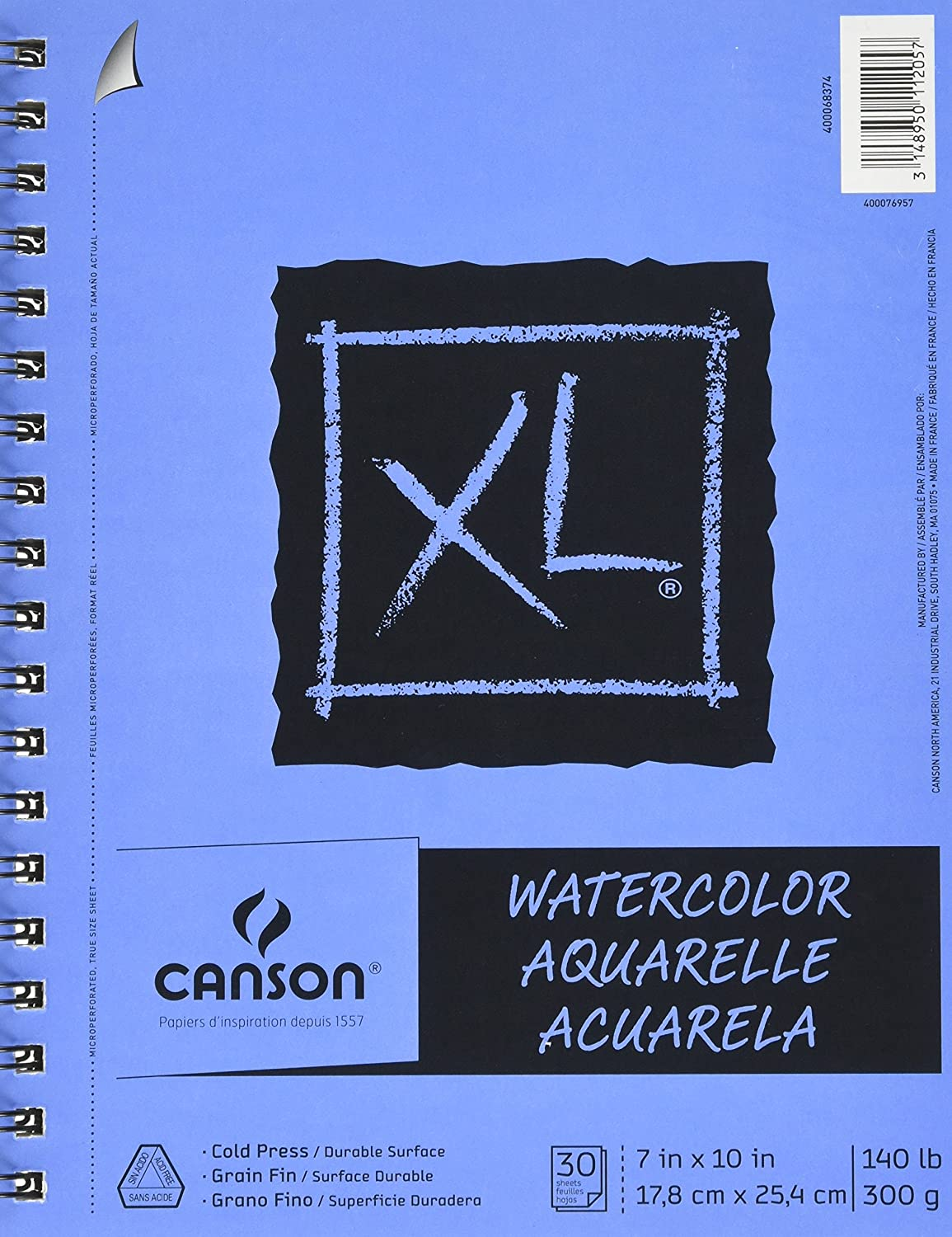 Canson XL Series Watercolor Textured Pad, Use with Paint Pencil Ink Charcoal Pastel and Acrylic, Side Wire Bound, 140 Pound, 7 x 10 Inch, 30 Sheets 400077425