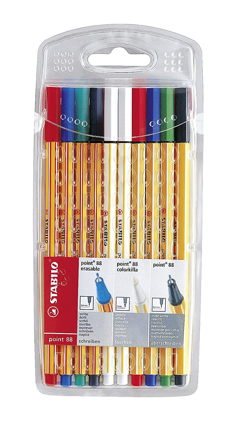 Stabilo point 88 881000-10 Fineliner Combo Case Pack of 10 Various Colours