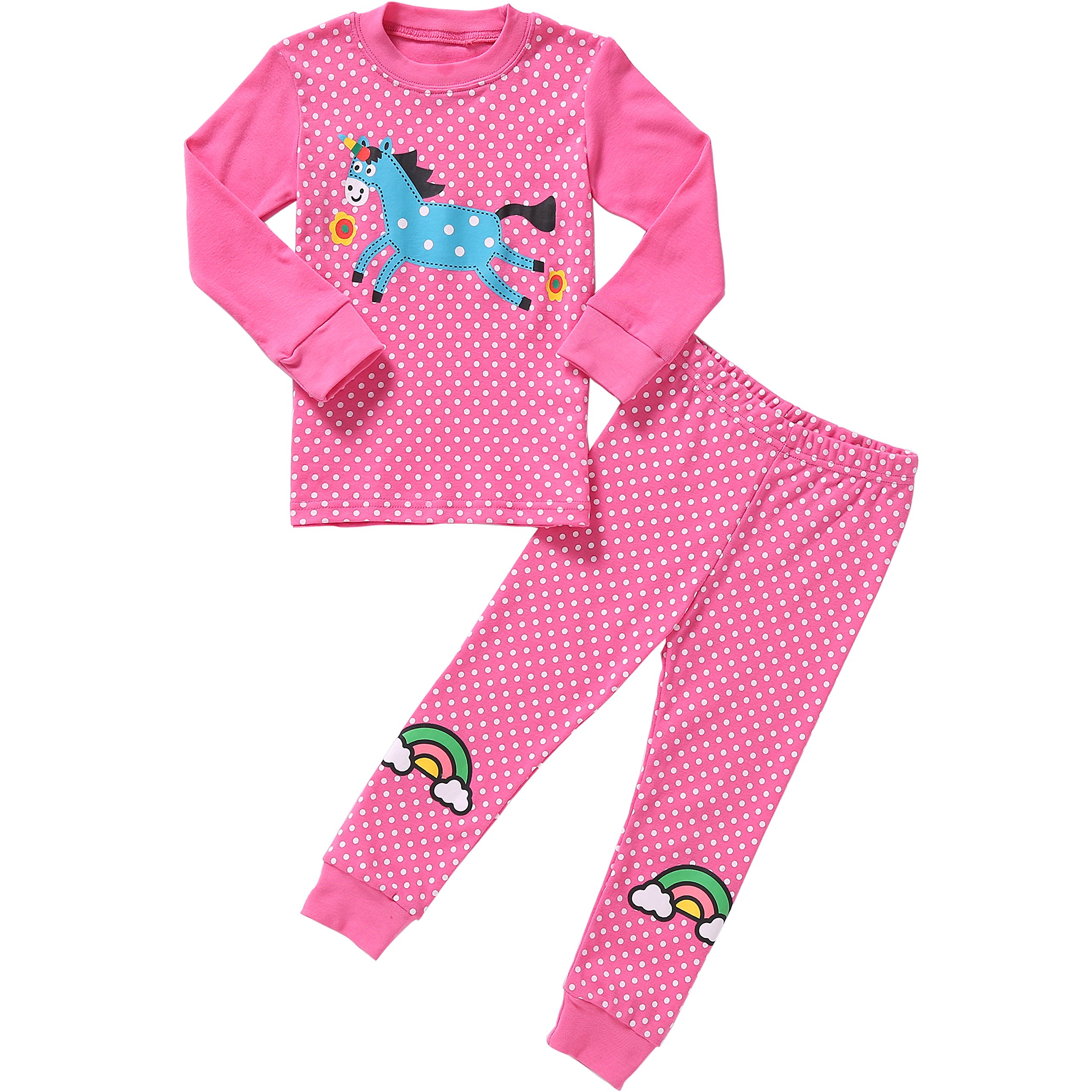 Pajamas for Girls Little Kids Long Sleeve Clothes Set Toddler Children Horse Sleepwear Size 6