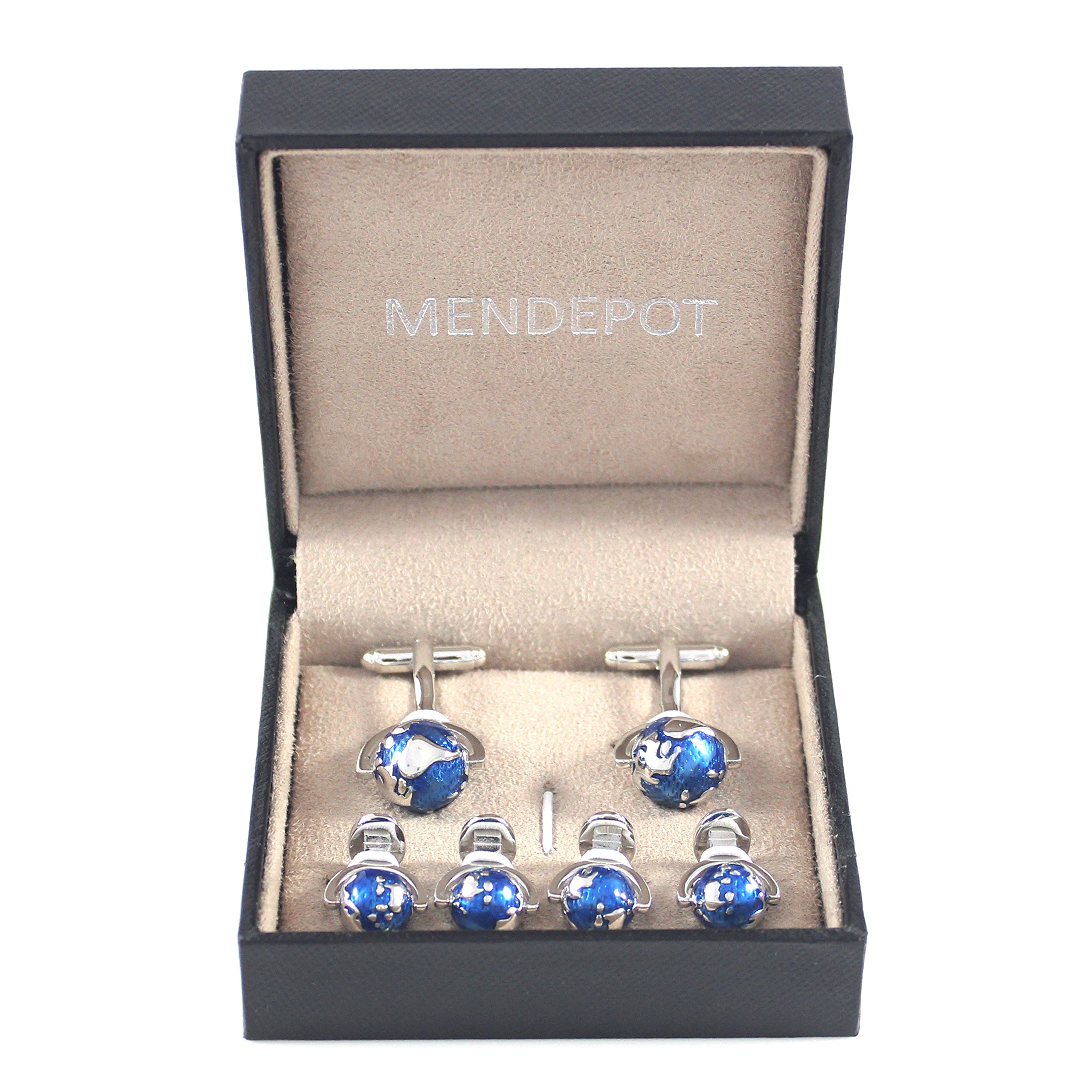 MENDEPOT Classic Rhodium Plated Blue And Silver Globe Cuff Link And Shirt Studs Formal Wear Set With Box Earth Planet Suit Set by MENDEPOT (Image #4)