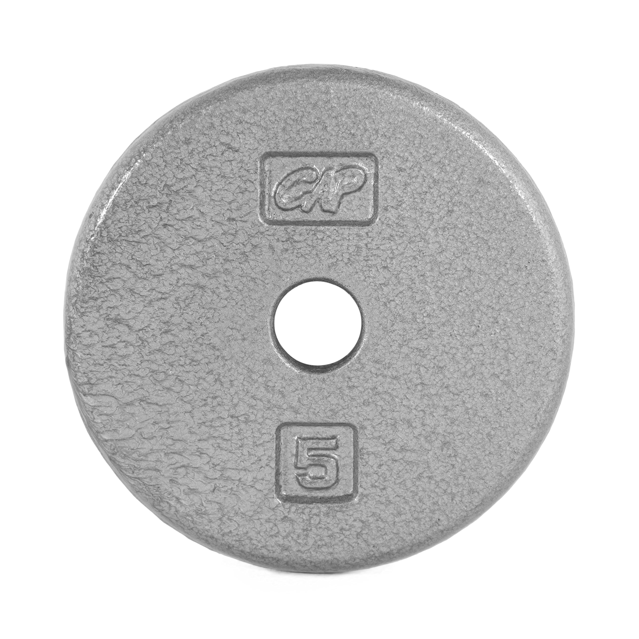 CAP Barbell Cast Iron Standard 1-Inch Weight Plates, Gray, Single, 5 Pound