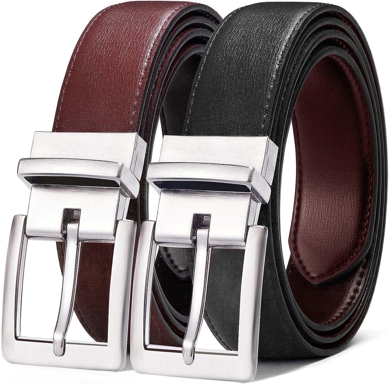Men's Belt,Bulliant Leather Reversible Belt 1.25