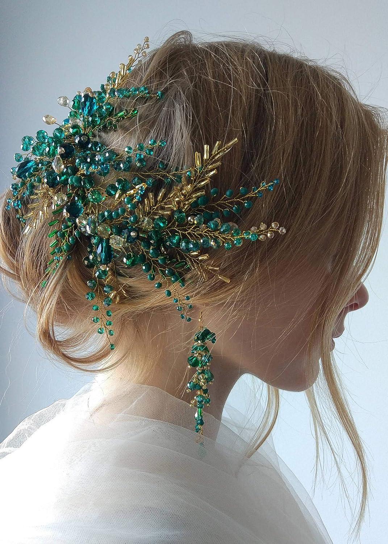 BERYUAN - Juego de pendientes para mujer, diseño de vid de esmeralda con cristales verdes y diamantes de imitación de cristal para boda, accesorio de boda para novia, dama de honor y chicas (dorado)