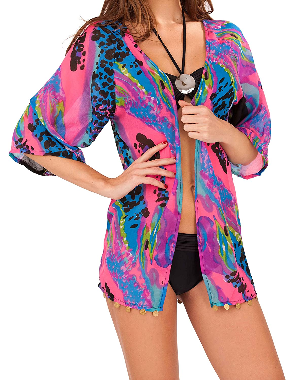 Ladies Multi Colour Bright Animal Print Chiffon Short Sleeved Beach Shirt Over Bikini Swim Suit Cover Up