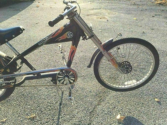 PHOENIX FINDS TREASURES Schwinn Stingray Chopper - Bicicleta de motociclista con marco negro y llamas naranjas: Amazon.es: Deportes y aire libre